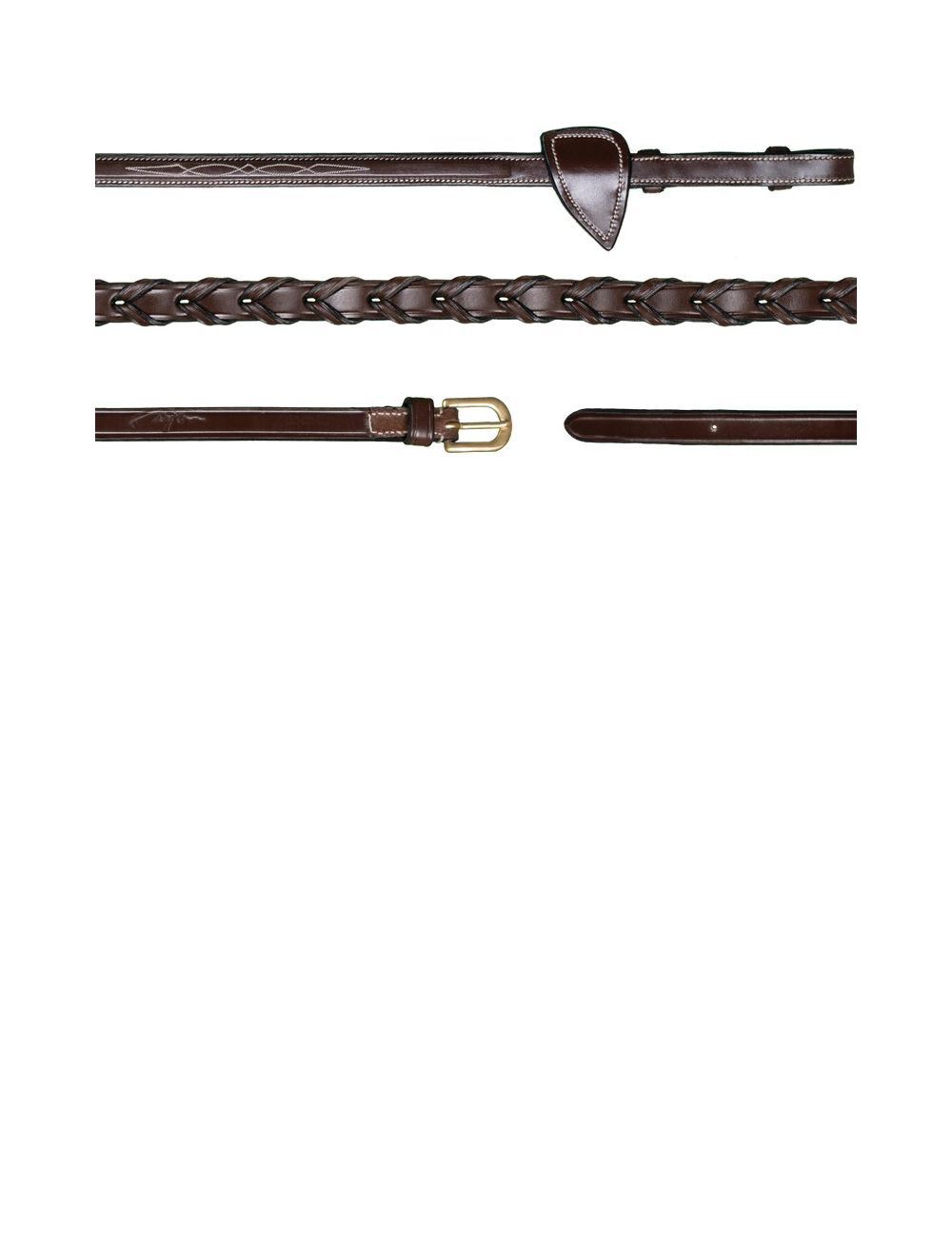 Dyon D Collection Leather Laced Reins - 2