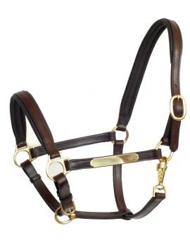 Stallmeister leather halter with name tag - 1