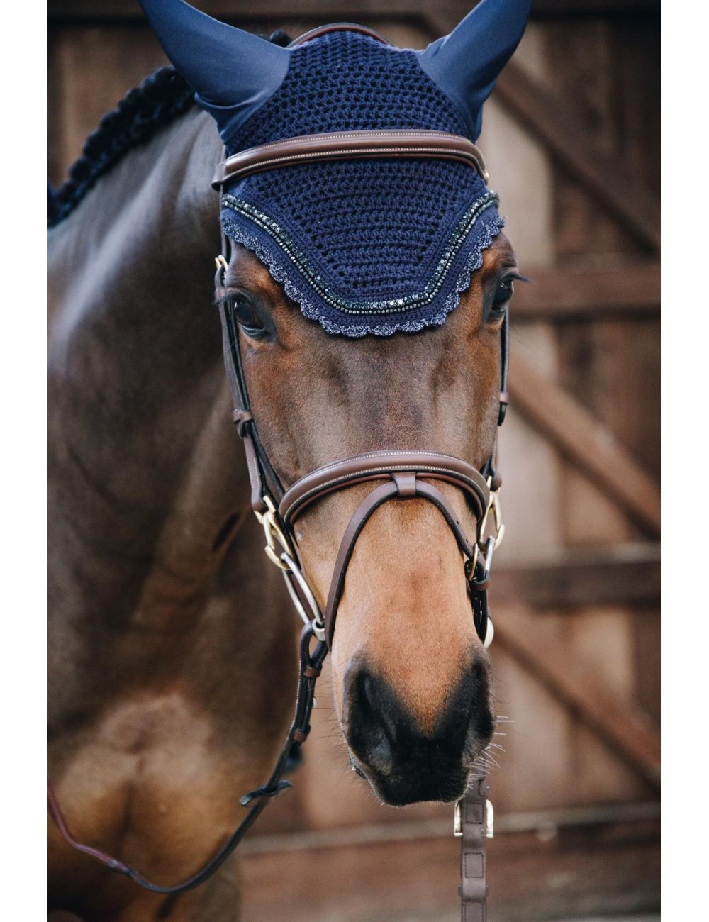 Kentucky Horsewear Fly Veil Wellington Soundless Stone & Pearl - 1