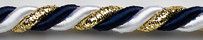 93 blue/white/gold glitter Ø 6 mm